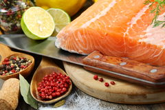 Fresh salmon fillet with herbs and spices. Royalty Free Stock Photos