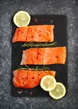 Fresh salmon fillet with herbs and spices. Top view Stock Photography