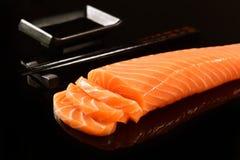 Fresh raw salmon. Fresh Salmon fillet isolated on black background Stock Photo