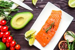 Fresh salmon fillet with lemon and dill on dark background. Fresh salmon fillet with lemon, avocado, rosemary,lime, tomatos, solt. papper and dill on dark Royalty Free Stock Photo