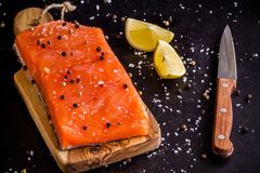 Fresh salmon fillet with lemon, pepper and sea salt. On dark background Royalty Free Stock Images