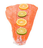 Fresh salmon fillet with lemon. Royalty Free Stock Photo