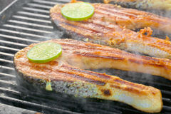 Fresh salmon fillet with lime cooked on a grill Royalty Free Stock Photography