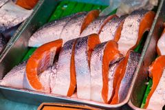 Fresh salmon fillet in the market Royalty Free Stock Photo