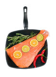 Fresh salmon fillet on a pan. Stock Photography
