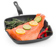 Fresh salmon fillet on a pan. Stock Image