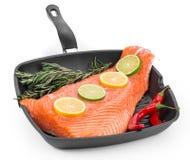 Fresh salmon fillet on a pan. Stock Image
