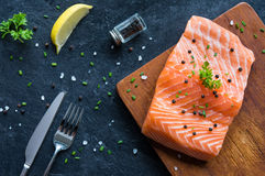 Fresh salmon fillet with pepper Royalty Free Stock Images