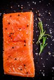 Fresh salmon fillet with pepper, rosemary and sea salt. On dark background Stock Photography