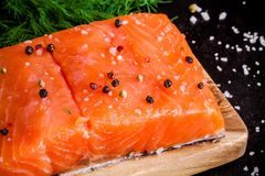 Fresh salmon fillet with pepper and sea salt closeup. On dark background Royalty Free Stock Images