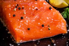 Fresh salmon fillet with pepper and sea salt closeup. On dark background Royalty Free Stock Photo