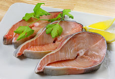 Fresh salmon fillet on a plate Stock Photos