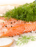 Fresh salmon fillet with spices on baking paper Royalty Free Stock Photo