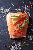 Fresh salmon fillet with spices and herbs Stock Photography