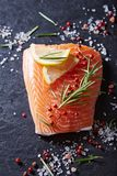 Fresh salmon fillet with spices and herbs. Top view Royalty Free Stock Image