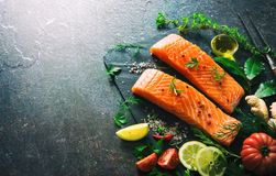 Fresh salmon fillet steaks royalty free stock photography