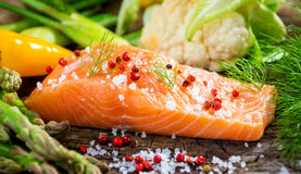 Fresh salmon fillet Stock Photography