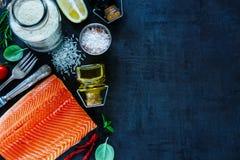 Fresh salmon fillet Royalty Free Stock Images