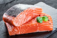 Fresh salmon fillets on black cutting board with herbs and spice. S Royalty Free Stock Image