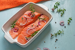 Fresh salmon fillets with onions, pepper and herbs Royalty Free Stock Photography