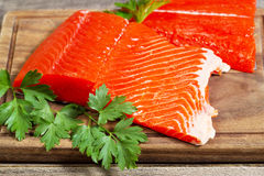 Fresh Salmon Fillets ready to Cook Stock Photo