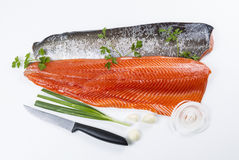 Fresh Salmon Fish Fillets With Herbs Royalty Free Stock Image