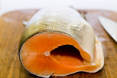 Fresh salmon fish with knife on wooden cooking desk. Fresh salmon fish close-up royalty free stock images