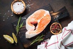 Fresh salmon fish steak. Raw fish top view. Royalty Free Stock Image