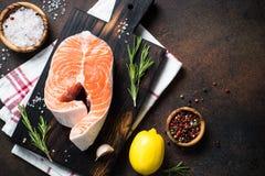 Fresh salmon fish steak Royalty Free Stock Images