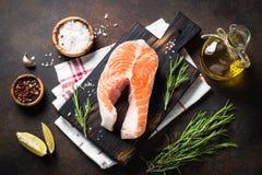 Fresh salmon fish steak Royalty Free Stock Photography