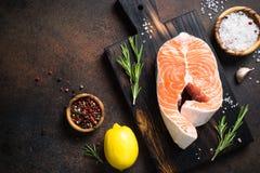 Fresh salmon fish steak Stock Images
