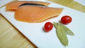 Fresh Salmon fish. Fresh Salmon fish tomato bay leaf Royalty Free Stock Image