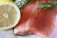 Fresh salmon. With green rosemary and lemon stock photography