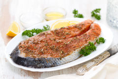 Fresh salmon with herbs and lemon on white dish Stock Images