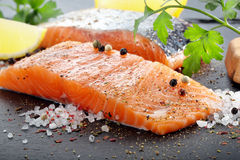 Fresh salmon with herbs ready for baking Stock Photography