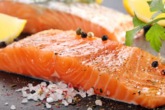 Fresh salmon with herbs ready for baking Stock Image