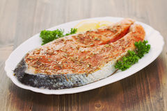 Fresh salmon with herbs Royalty Free Stock Image