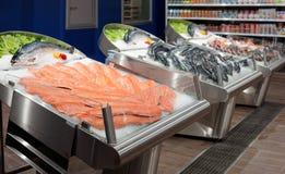 Fresh salmon on ice Stock Images