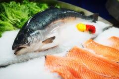 Fresh salmon on ice, toned Stock Image