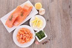Fresh salmon and ingredient Stock Photo