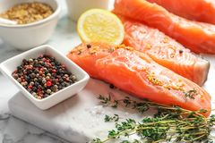 Fresh salmon and ingredients for marinade. On marble board Stock Photos