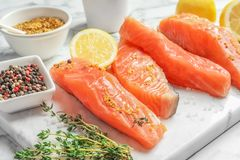 Fresh salmon and ingredients for marinade. On marble board Stock Images
