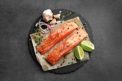 Fresh salmon and ingredients for marinade Royalty Free Stock Images