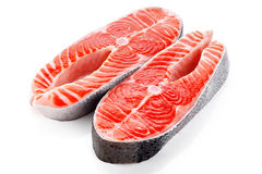 Fresh salmon isolated on white background. Close up Stock Photography