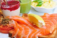 Fresh Salmon with lemon and bread Stock Photos