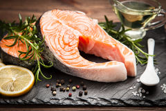 Fresh salmon on old wood Royalty Free Stock Images