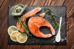 Fresh salmon on old wood Stock Image