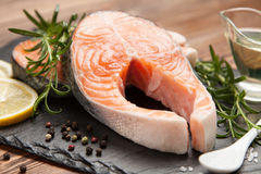 Fresh salmon on old wood Royalty Free Stock Image