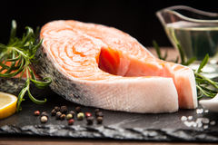 Fresh salmon on old wood Stock Images