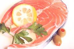 Fresh salmon olives lemon. Fresh Royalty Free Stock Image